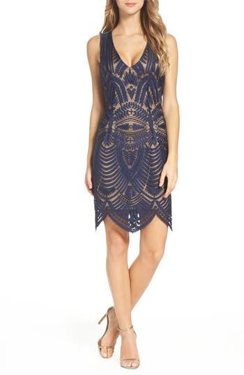 Women's Bardot Embroidered Mesh Dress, Size Small - Blue