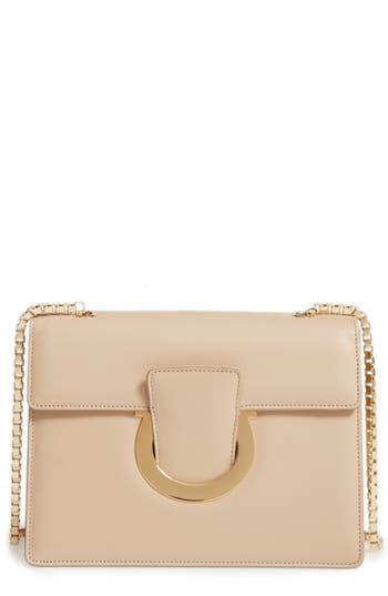 Salvatore Ferragamo Large Thalia Leather Shoulder Bag - Beige