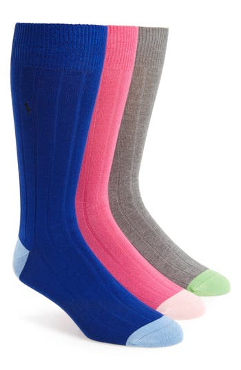 Men's Polo Ralph Lauren 3-Pack Ribbed Socks, Size One Size - Grey