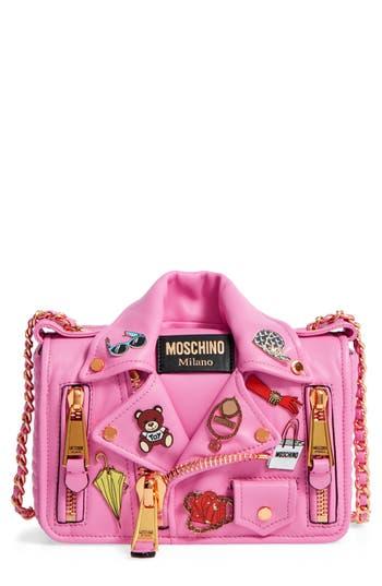 Moschino Biker Jacket Shoulder Bag - Pink