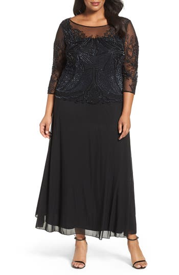 Plus Size Vintage Dresses, Plus Size Retro Dresses Pisarro Illusion Neck Beaded A-Line Gown S $238.00 AT vintagedancer.com