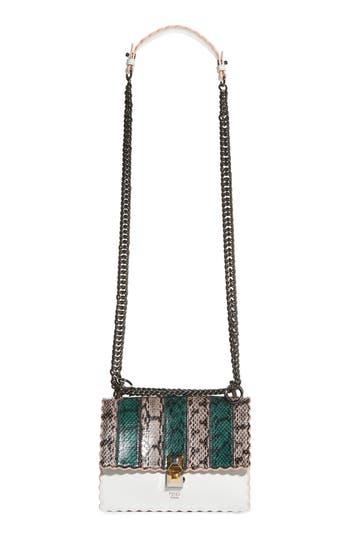 Fendi Mini Kan Scallop Genuine Snakeskin & Leather Shoulder Bag -