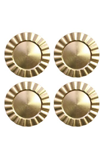 American Atelier Set Of 4 Round Ruffled Charger Plates, Size One Size - Metallic