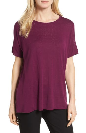 Women's Eileen Fisher Silk Blend Tunic Sweater, Size Large - Purple