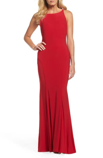 Women's Ieena For MAC Duggal Jersey Gown, Size 12 - Red