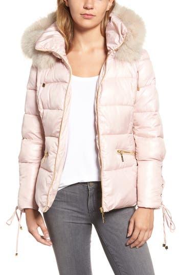 Women's Kensie Lace Sleeve Puffer Coat With Faux Fur Trim Hood