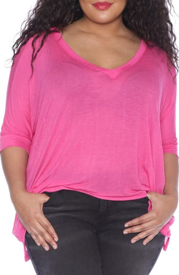 Plus Size Women's Slink Jeans V-Neck Tee, Size 0X - Purple