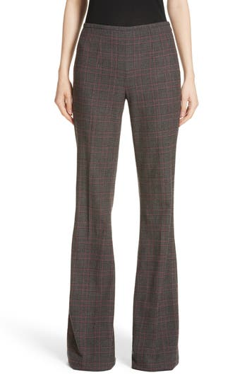 Women's Michael Kors Plaid Stretch Wool Flannel Pants, Size 10 - Grey