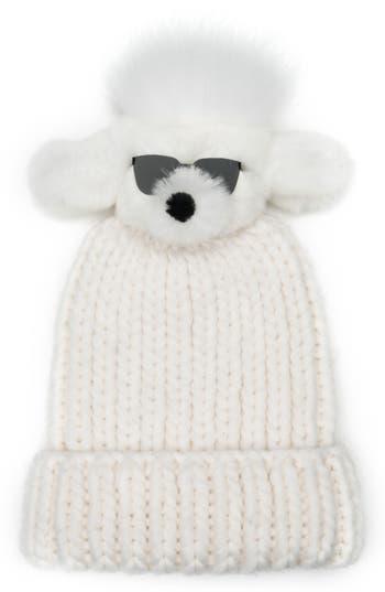Women's Eugenia Kim Rain Wool Stocking Cap With Genuine Fox Fur Pom - White