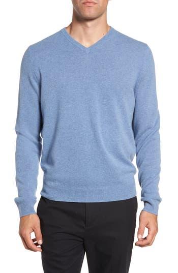 Big & Tall Nordstrom Shop Cashmere V-Neck Sweater, Blue