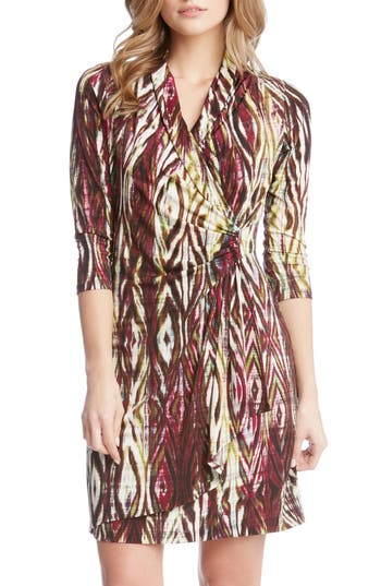 Women's Karen Kane Print Jersey Cascade Faux Wrap Dress, Size Small - Purple