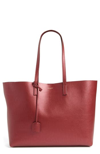 Saint Laurent  EAST/WEST LEATHER TOTE WITH ZIP POUCH - BURGUNDY