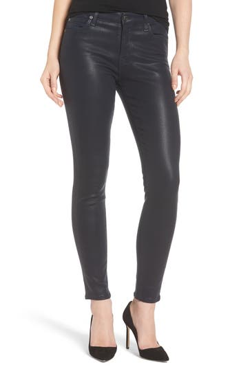 7 For All Mankind Coated Ankle Skinny Jeans, 7 - Black