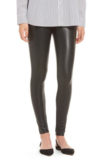 Commando Control Top Faux Leather Leggings, Black