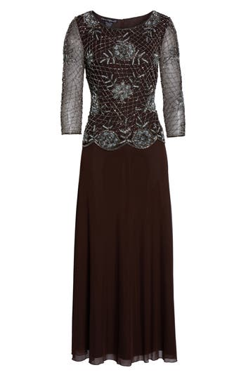 1940s Evening, Prom, Party, Cocktail Dresses & Ball Gowns Womens Pisarro Nights Embellished Mesh Gown Size 16 - Brown $238.00 AT vintagedancer.com