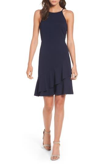 Women's Soprano Ruffle Hem Knit Dress, Size Medium - Blue