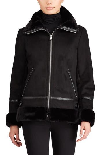 Women's Lauren Ralph Lauren Faux Shearling Bomber Jacket, Size X-Small - Black