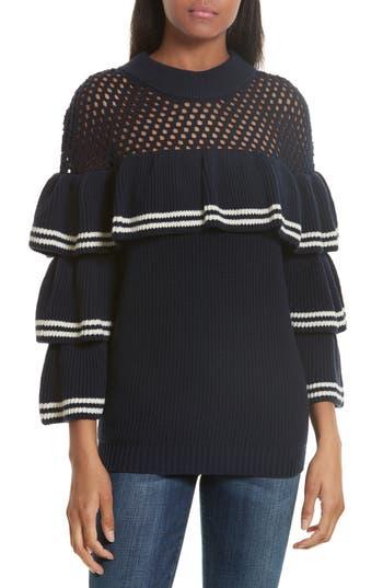 Women's Self-Portrait Stripe Ruffle Wool & Cotton Sweater, Size Medium - Blue