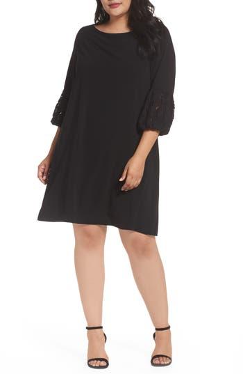 Plus Size Women's Gabby Skye Lace Sleeve Trapeze Dress