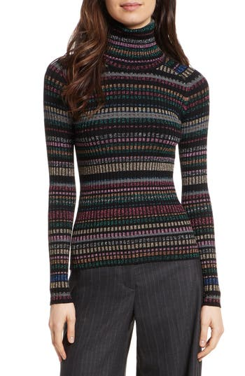 Women's Milly Metallic Stripe Turtleneck, Size Medium - Black