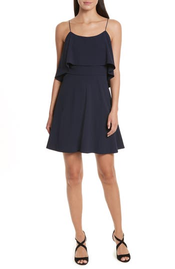 Women's Alice + Olivia Kipp Layered Ruffle Short Dress, Size 6 - Blue