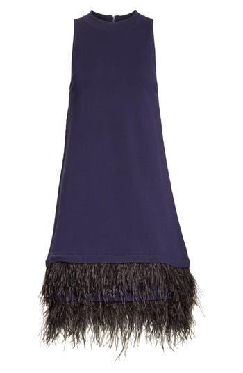 Women's Milly Feather Hem Shift Dress, Size Petite - Blue