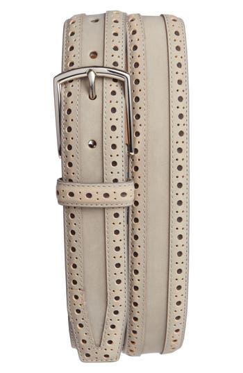 Cole Haan Brogue Nubuck Leather Belt, Ironstone