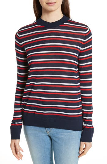 Women's Etre Cecile Stripe Knit Boyfriend Sweater, Size X-Small - Blue