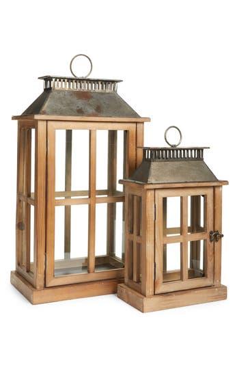 Melrose Gifts Decorative Wood & Metal Lantern, Brown