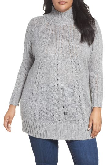 Plus Size Women's Caslon Cable Knit Tunic Sweater, Size 1X - Grey