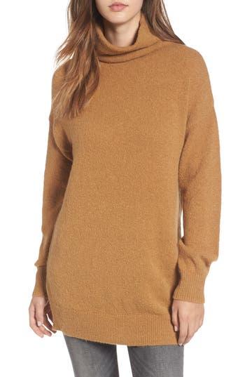 Women's Bp. Boucle Turtleneck Tunic Sweater, Size XX-Small - Brown