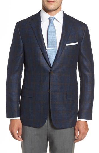 Men's Hickey Freeman Classic B Fit Plaid Wool Blend Sport Coat