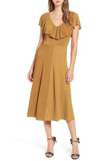 Women's June & Hudson Ruffle Midi Dress, Size X-Small - Metallic