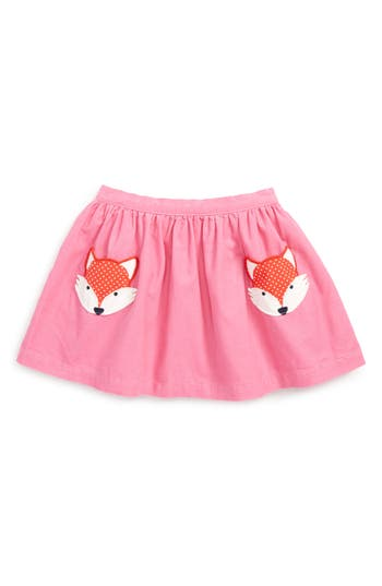 Girl's Mini Boden Animal Pocket Corduroy Skirt, Size 4-5Y - Pink