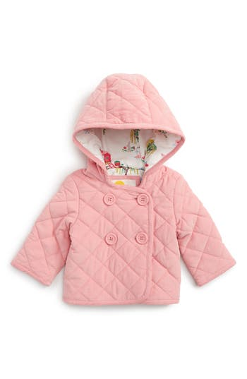 Toddler Girl's Mini Boden Pretty Quilted Corduroy Hooded Jacket