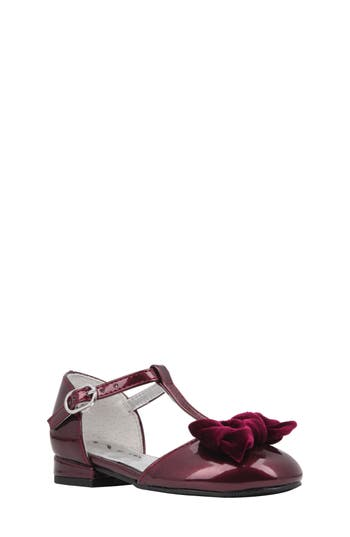 Girl's Nina Almira T-Strap Bow Flat, Size 4 M - Burgundy