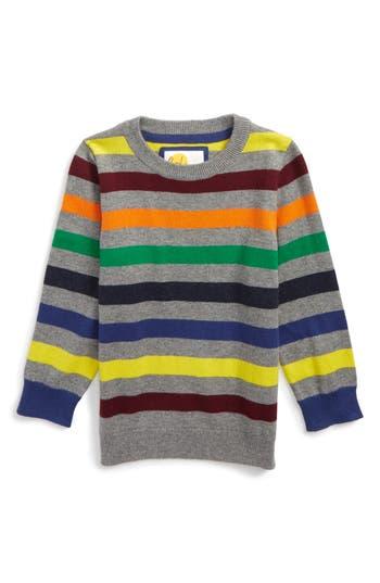 Boy's Mini Boden Stripe Sweater, Size 4-5Y - Grey