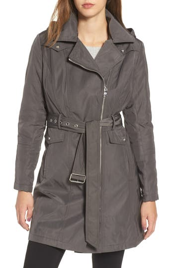 Women's Vince Camuto Belted Raincoat, Size X-Small - Grey