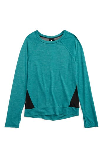Girl's Zella Girl Mesh Open Back Top, Size XS (5-6) - Green