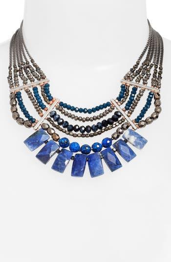 Women's Nakamol Design Semiprecious Stone Beaded Fringe Collar Necklace