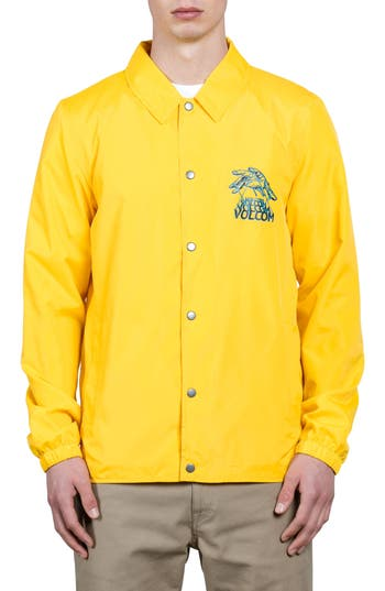 Men's Volcom Brews Coach's Jacket, Size Small - Yellow