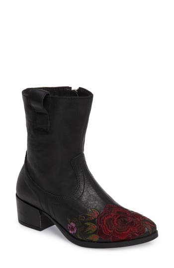 Sheridan Mia Shallot Floral Embroidered Bootie Black