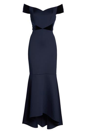 Vintage Evening Dresses and Formal Evening Gowns Petite Womens Eliza J Off The Shoulder Highlow Mermaid Gown Size 2P - Blue $136.80 AT vintagedancer.com