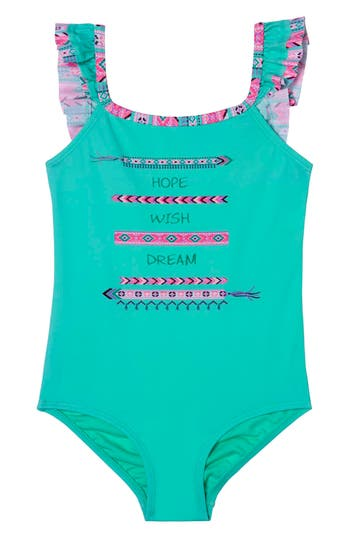 Girl's Hula Star Bff One-Piece Swimsuit, Size 5 - Green