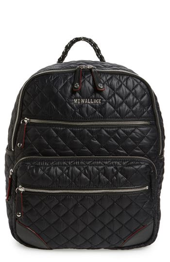 Mz Wallace Crosby Quilted Oxford Nylon Backpack - Black