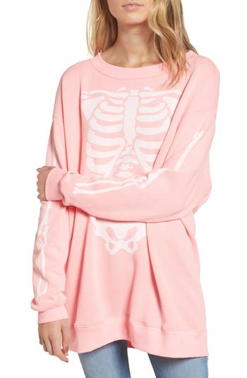 Women's Wildfox X-Ray Vision Sweatshirt, Size Large - Pink
