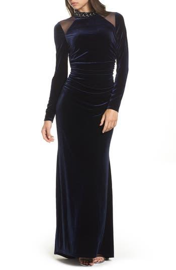 Vince Camuto Mesh Panel Embellished Velvet Gown, Blue
