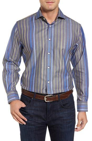Men's Thomas Dean Regular Fit Stripe Sport Shirt