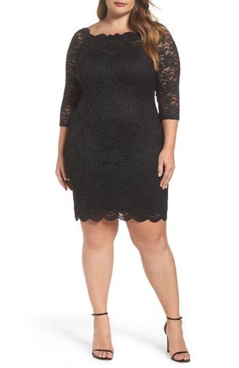 Plus Size Decode 1.8 Glitter Lace Cocktail Dress, Black