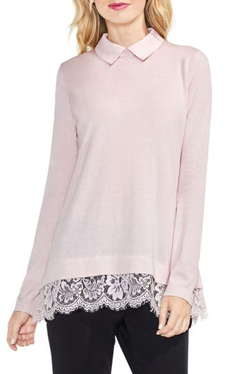 Women's Vince Camuto Lace Hem Collared Sweater